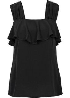 Обязательный элемент гардероба: топ с воланом (черный) Bonprix