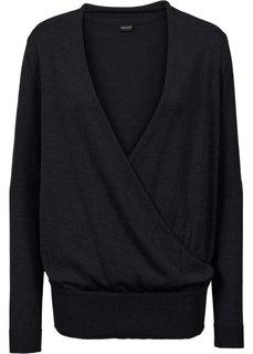 Пуловер с эффектом запаха (черный) Bonprix