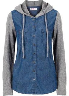 Джинсовая рубашка с трикотажными рукавами (синий) Bonprix