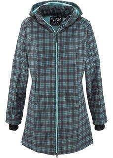 Функциональная куртка-софтшелл с плюшевой подкладкой (пастельная аква/шиферно-серый в клетку) Bonprix