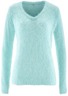 Пушистый пуловер с V-образным вырезом (мятный пастельный) Bonprix