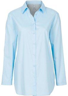 Рубашка в стиле бойфренд с трикотажной вставкой (нежно-голубой/светло-серый меланж) Bonprix