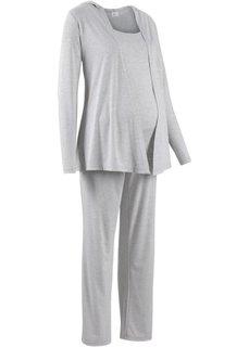Мода для беременных: спортивные костюм из куртки, брюк и топа (3 изд.) (светло-серый меланж) Bonprix