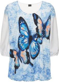 Трикотажная блузка (темно-синий с рисунком) Bonprix