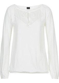 Трикотажная блузка с длинным рукавом (кремовый) Bonprix