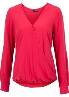 Блузка с эффектом запаха (красный) Bonprix