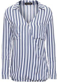 Блузка с эффектом запаха (индиго/белый в полоску) Bonprix