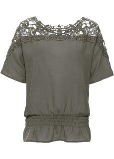 Шифоновая блузка с вязаным кружевом (темно-оливковый) Bonprix