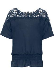Шифоновая блузка с вязаным кружевом (темно-синий) Bonprix