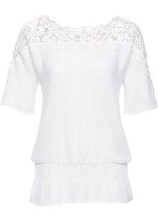 Шифоновая блузка с вязаным кружевом (белый) Bonprix