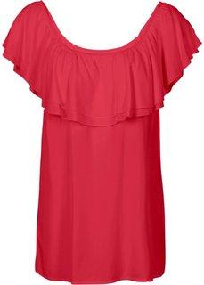 Блузка с вырезом-кармен (красный) Bonprix