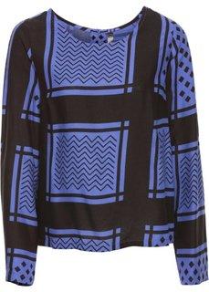 Блузка с принтом пейсли (лилово-синий/черный с принтом) Bonprix