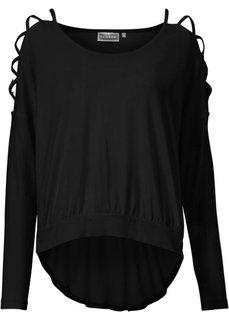 Пуловер с вырезами на рукавах (черный однотонный) Bonprix