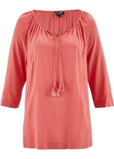 Блузка с вырезом-кармен и рукавом 3/4 (коралловый) Bonprix