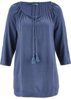 Блузка с вырезом-кармен и рукавом 3/4 (индиго) Bonprix