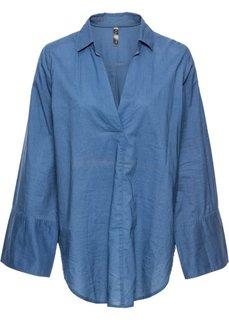 Блузка с широкими манжетами (синий) Bonprix