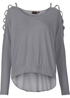 Пуловер с вырезами на рукавах (серый) Bonprix
