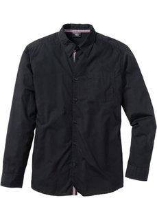 Рубашка с длинным рукавом, стандартный покрой (черный) Bonprix