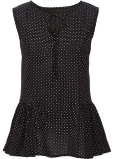 Блузка с воланами по бокам (черный/белый в горошек) Bonprix