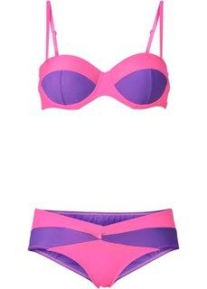 Купальный костюм бикини, чашка D (ярко-розовый неон/красная ягода) Bonprix