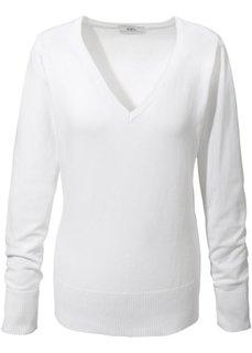 Пуловер тонкой вязки (белый) Bonprix