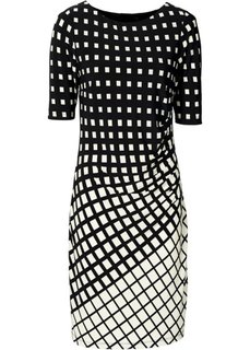 Мини-платье с графичным узором (черный/экрю) Bonprix