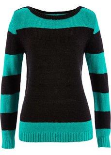 Пуловер (черный/изумрудный) Bonprix