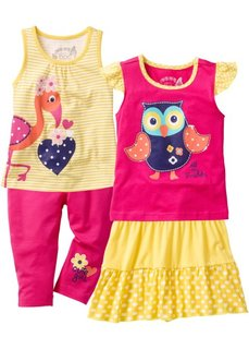 Топ + футболка + юбка + леггинсы длиной 3/4 (4 изделия) (тюльпанно-желтый/ярко-розовый) Bonprix