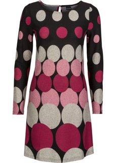 Вязаное платье с кругами (черный/розовый матовый/светло-серый/ягодно-красный) Bonprix