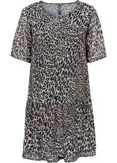 Платье в леопардовом дизайне (черный леопардовый/коричневый) Bonprix