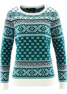 Пуловер (петролевый с узором) Bonprix