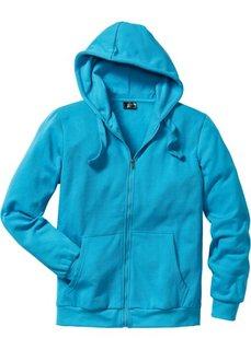 Трикотажная куртка стандартного покроя с капюшоном (бирюзовый) Bonprix