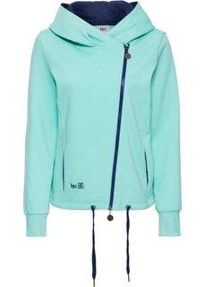 Трикотажная куртка с асимметричной застежкой-молнией (зеленый океан) Bonprix