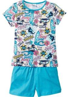 Пижама с шортами (2 изд.) (карибский синий/белый) Bonprix