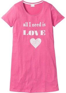 Ночная сорочка (ярко-розовый матовый/белый с рисунком) Bonprix