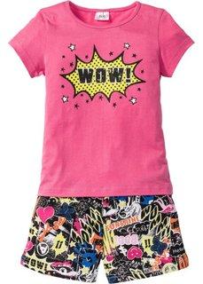 Пижама с шортами (2 изд.) (ярко-розовый/черный) Bonprix