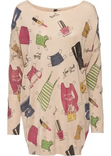 Удлиненный пуловер (телесный с рисунком) Bonprix