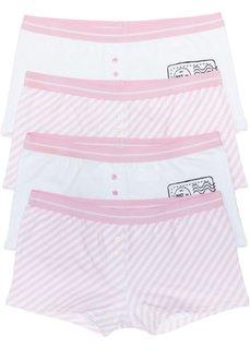 Женские трусики-боксеры (4 шт.) (белый/нежно-розовый в полоску) Bonprix