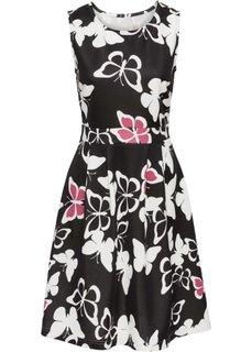 Платье с рисунком бабочек (черный/кремовый с узором) Bonprix