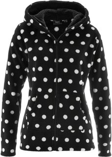 Флисовая куртка с капюшоном (черный/цвет белой шерсти в горошек) Bonprix