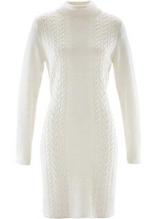 Вязаное платье с воротником-стойкой (цвет белой шерсти) Bonprix
