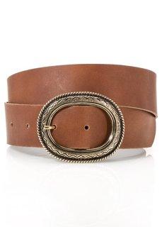 Кожаный ремень с овальной пряжкой (коричневый) Bonprix