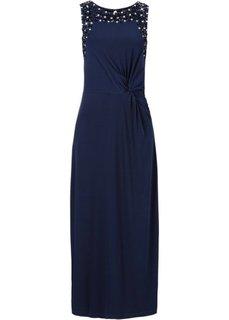 Макси-платье с аппликацией камешками (темно-синий) Bonprix