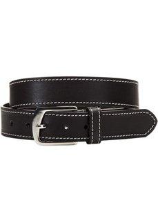 Мужской кожаный ремень с декоративной отстрочкой (черный) Bonprix