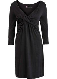 Трикотажное платье для будущих и кормящих мам (черный) Bonprix