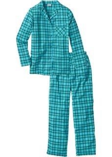 Фланелевая пижама (сине-зеленый в клетку) Bonprix