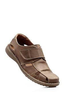 Кожаные сандалии (мускатно-коричневый) Bonprix