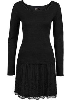 Вязаное платье с кружевной юбкой (черный) Bonprix