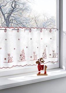 Кухонная штора Самуэль, прорезные петли (белый/красный) Bonprix