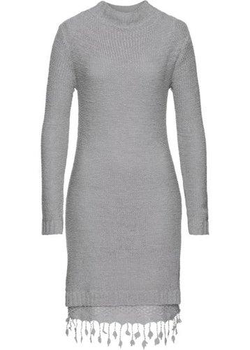 Вязаное платье с кружевной отделкой (светло-серый)